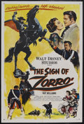 "Movie Posters:Adventure, The Sign of Zorro (Buena Vista, 1960). One Sheet (27"" X 41"").Adventure. Starring Guy Williams, Henry Calvin, Gene Sheldon a..."