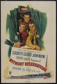 """Without Reservations (RKO, 1946). One Sheet (27"""" X 41"""") Style A. Romantic Comedy. Starring Claudette Colbert..."""