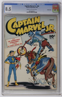 Captain Marvel Jr. #36 Crowley Copy pedigree (Fawcett, 1946) CGC VF+ 8.5 Cream to off-white pages. Bid Thompson cover. T...