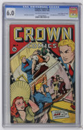 """Golden Age (1938-1955):Miscellaneous, Crown Comics #4 Davis Crippen (""""D"""" Copy) pedigree (Golfing, Inc., 1945) CGC FN 6.0 Off-white to white pages. First appearanc..."""