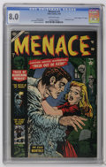 "Golden Age (1938-1955):Horror, Menace #7 Davis Crippen (""D"" Copy) pedigree (Atlas, 1953) CGC VF8.0 Off-white pages. Contains a Frankenstein story. Russ He..."