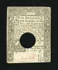 Colonial Notes:Connecticut, Connecticut June 1, 1780 Hole Cancel 5s About New. Some lightcirculation is seen on this typical hole cancelled note....
