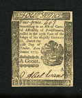Colonial Notes:Pennsylvania, Pennsylvania October 25, 1775 4d Choice New. But for the marginsbeing a little small this small change note has some of the...
