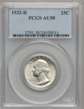 Washington Quarters: , 1932-D 25C AU58 PCGS. PCGS Population (544/1702). NGC Census:(413/943). Mintage: 436,800. Numismedia Wsl. Price for proble...