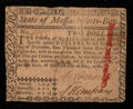 Colonial Notes:Massachusetts, Massachusetts May 5, 1780 $2 Very Fine.. ...