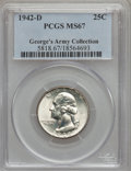 Washington Quarters: , 1942-D 25C MS67 PCGS. Ex: George's Army Collection. PCGS Population(32/0). NGC Census: (143/1). Mintage: 17,487,200. Numis...