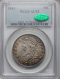 Bust Half Dollars: , 1813 50C AU53 PCGS. CAC. PCGS Population (46/202). NGC Census:(33/486). Mintage: 1,241,903. Numismedia Wsl. Price for prob...