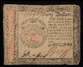 Colonial Notes:Continental Congress Issues, Continental Currency January 14, 1779 $40 Very Fine.. ...