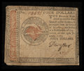 Colonial Notes:Continental Congress Issues, Continental Currency January 14, 1779 $4 Very Fine.. ...