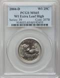 Statehood Quarters, 2004-D 25C Wisconsin Extra Leaf High MS65 PCGS. PCGS Population(790/153). Numismedia Wsl. Price for pr...