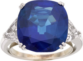 Featured item image of Kashmir Sapphire, Diamond, Platinum Ring  ...