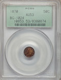 California Fractional Gold: , 1870 50C Liberty Round 50 Cents, BG-1024, Low R.4, AU53 PCGS. PCGSPopulation (6/122). NGC Census: (0/13). (#10853)...
