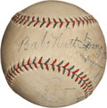 Autographs:Baseballs, Early 1930's Babe Ruth Signed Baseball with Others....