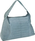 Luxury Accessories:Bags, Tod's Light Blue Matte Crocodile Oversize Hobo with ChocolateLambskin Interior. ...