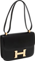 Luxury Accessories:Bags, Hermes 23cm Black Calf Box Leather Constance Bag with GoldHardware. ...
