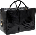 Luxury Accessories:Bags, Hermes 45cm Black Shiny Porosus Crocodile Plume Travel Bag with Gold Hardware. ...