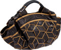Luxury Accessories:Accessories, Loewe Black Snakeskin with Gold Trim Limited Edition Oversize Totewith Lambskin Interior. ...