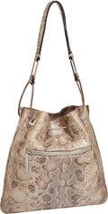 Luxury Accessories:Bags, Gucci Metallic Snakeskin Drawstring Shoulder Bag. ...