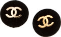 Luxury Accessories:Accessories, Chanel Black Velvet and Logo Earrings. ...