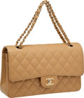 Luxury Accessories:Bags, Chanel Classic Beige Caviar Leather Double Flap Bag with GoldHardware. ...