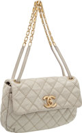 Luxury Accessories:Bags, Heritage Vintage: Chanel Rare Pearl Grey Distressed Leather SingleFlap Bag with Antique Gold Hardware . ...