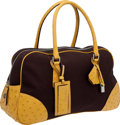 Luxury Accessories:Bags, Prada Classic Brown Canvas and Yellow Ostrich Large Bowling Bag....