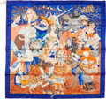 "Luxury Accessories:Accessories, Hermes Orange & Blue ""Fairytales by Hermes"" Silk Scarf. ..."