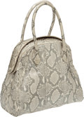 Luxury Accessories:Bags, Alaia Metallic Silver Snakeskin Large Bowling Bag with LeatherInterior. ...