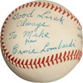 Autographs:Baseballs, 1950's Ernie Lombardi Single Signed Baseball....