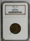 Half Cents: , 1834 1/2 C MS62 Brown NGC. C-1. NGC Census: (42/141). PCGS Population (25/116). Mintage: 141,000. Numismedia Wsl. Price: $2...