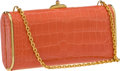 Luxury Accessories:Bags, Judith Leiber Coral Alligator Clutch with Cabochon Closure. ...