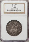 Bust Half Dollars, 1812 50C VF30 NGC. O-104A. NGC Census: (25/674). PCGS Population(45/756). Mintage: 1,628,059. Numismedia Wsl. Price for pr...