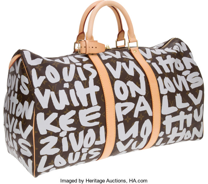 6dbb5ba8d17 ... Luxury Accessories Bags, Louis Vuitton 2001 Graffiti Collection by Stephen  Sprouse SilverClassic Monogram Keepall ...