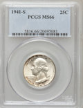 Washington Quarters: , 1941-S 25C MS66 PCGS. PCGS Population (301/35). NGC Census:(359/77). Mintage: 16,080,000. Numismedia Wsl. Price for proble...