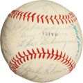 Autographs:Baseballs, 1969 Hall of Famers Multi-Signed Baseball with Jackie Robinson....