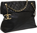 Luxury Accessories:Accessories, Chanel Black Lambskin Leather Large Shoulder Bag with Quilted Flap....