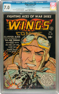 Golden Age (1938-1955):War, Wings Comics #28 Mile High pedigree (Fiction House, 1942) CGC FN/VF7.0 Off-white to white pages....