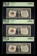 Small Size:Legal Tender Notes, Cut Half Sheet Fr. 1500 $1 1928 Legal Tender Notes. Six Examples. PCGS Very Choice New 64PPQ (3), Choice New 63PPQ (2), and Ne... (Total: 6 notes)