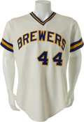 Baseball Collectibles:Uniforms, 1976 Hank Aaron Game Worn Milwaukee Brewers Jersey....