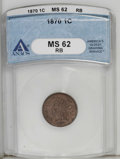 1870 1C MS62 Red and Brown ANACS. NGC Census: (10/213). PCGS Population (9/276). Mintage: 5,275,000. Numismedia Wsl. Pri...