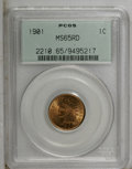Indian Cents: , 1901 1C MS65 Red PCGS. PCGS Population (175/50). NGC Census:(98/30). Mintage: 79,611,144. Numismedia Wsl. Price: $420. (#2...