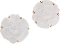 Luxury Accessories:Accessories, Chanel White Agate 18k Gold Camelia Flower Earrings. ...