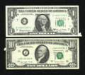 Error Notes:Attached Tabs, Fr. 1901-G $1 1963A Federal Reserve Note. Extremely Fine-AboutUncirculated.. Fr. 2024-J $10 1977A Federal Reserve Note. Very ...(Total: 2 notes)