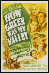"""How Green Was My Valley (20th Century Fox, 1941). One Sheet (27"""" X 41""""). Drama"""