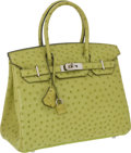 Luxury Accessories:Bags, Hermes 30cm Vert Anis Ostrich Birkin Bag with Palladium Hardware....