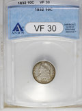 Bust Dimes: , 1832 10C VF30 ANACS. NGC Census: (4/209). PCGS Population (4/221). Mintage: 522,500. Numismedia Wsl. Price: $104. (#4521)...
