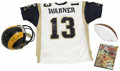 Football Collectibles:Others, Kurt Warner Signed Helmet, Football, and Jersey with Super Bowl XXXIV Program. Kurt Warner enjoyed one of the most successfu...
