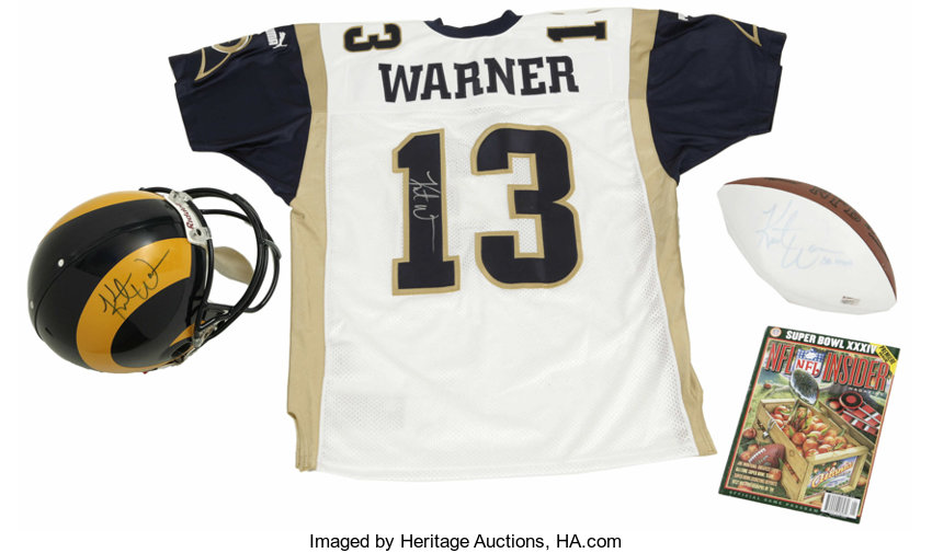 pick up d2ed1 2ac4c Kurt Warner Signed Helmet, Football, and Jersey with Super ...