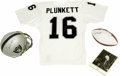 Football Collectibles:Others, Jim Plunkett Signed Helmet, Football, Jersey, and Oversized Photograph with Super Bowl XV Program. After stints with the Pat...