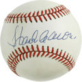 Autographs:Baseballs, Hank Aaron Singe Signed Baseball. Hammerin' Hank's large sweet spotsignature makes for a fine display piece here. ONL (Gia...